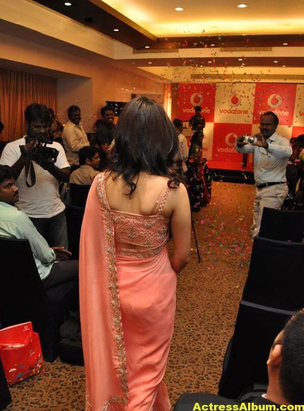 Tamanna Bhatia backless blouse transparent pink saree 6