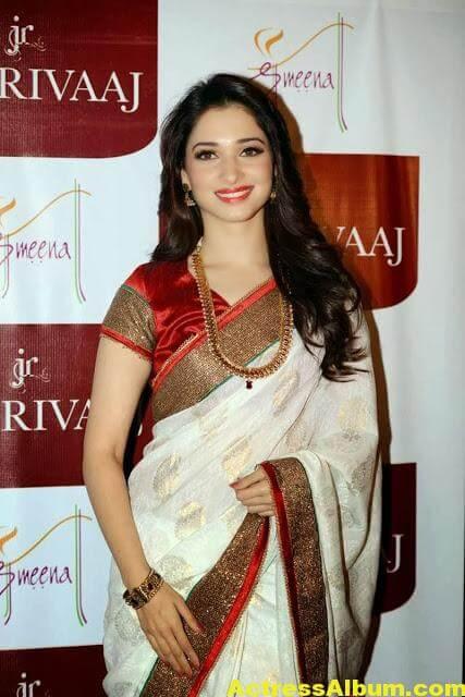 Tamanna Stills In White Saree