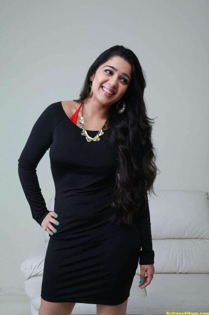 Tamil Actress Charmi Hot in Black Dress 7