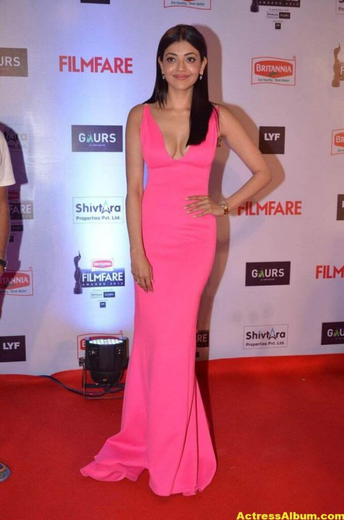 Tamil Actress Kajal Agarwal Hot Stills in Pink Dress 1