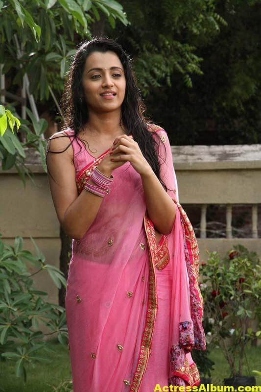 TRISHA IN PINK SAREE STILLS 1