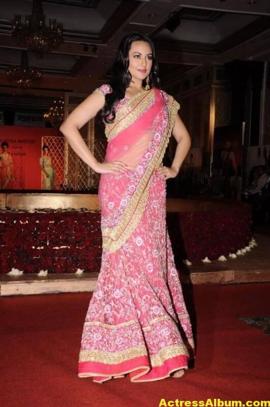 Actress Sonakshi Sinha Latest Pics In Pink Saree 3