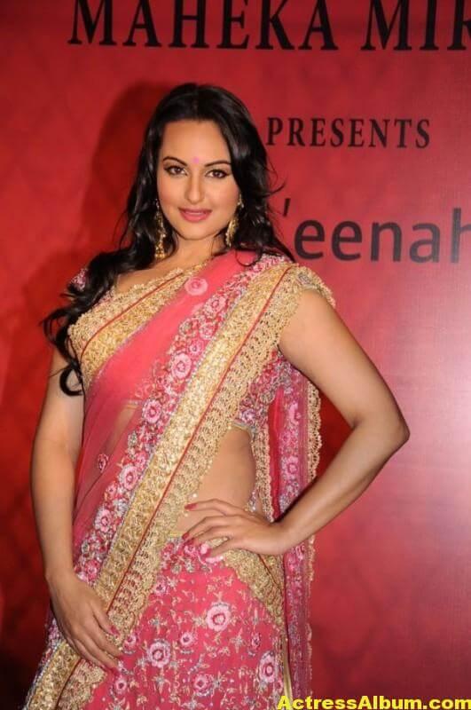 Actress Sonakshi Sinha Latest Pics In Pink Saree 4