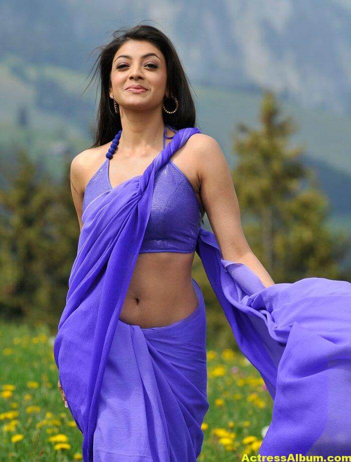 Kajal Aggarwal Hot Photos In Blue Saree 4