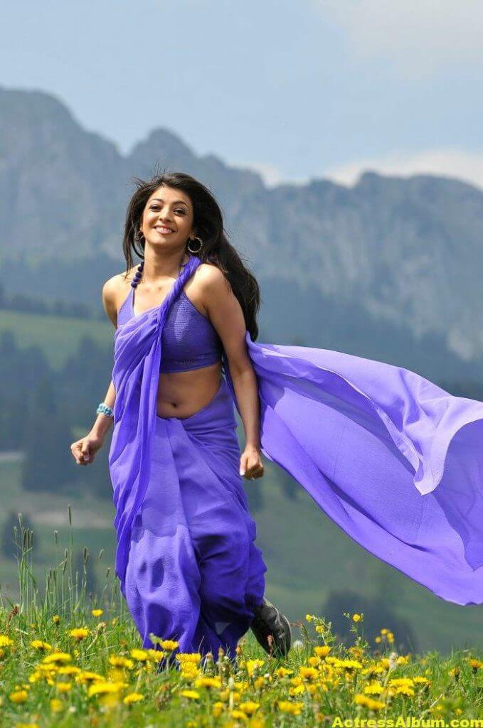 Kajal Aggarwal Hot Photos In Blue Saree 5