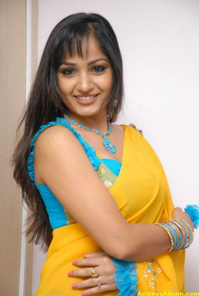 Madhavi Latha Latest Stills in Yellow Saree 1