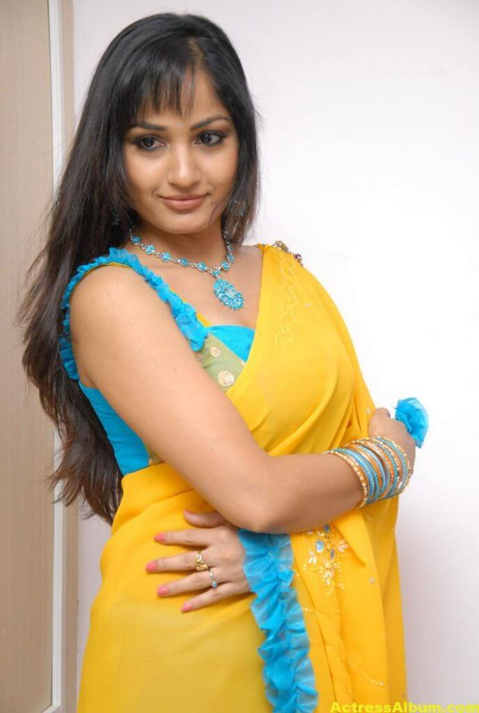 Madhavi Latha Latest Stills in Yellow Saree 6