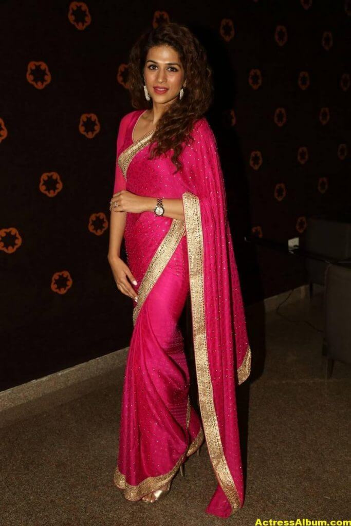 Shraddha Das Latest Hot Stills In Pink Saree (1)
