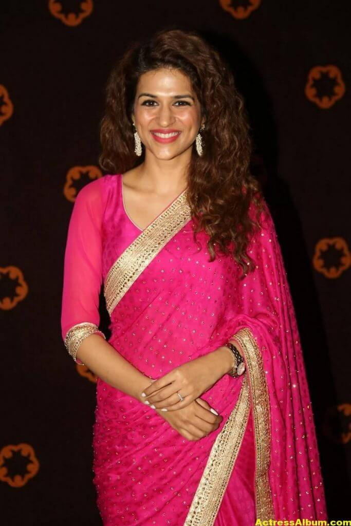 Shraddha Das Latest Hot Stills In Pink Saree (4)