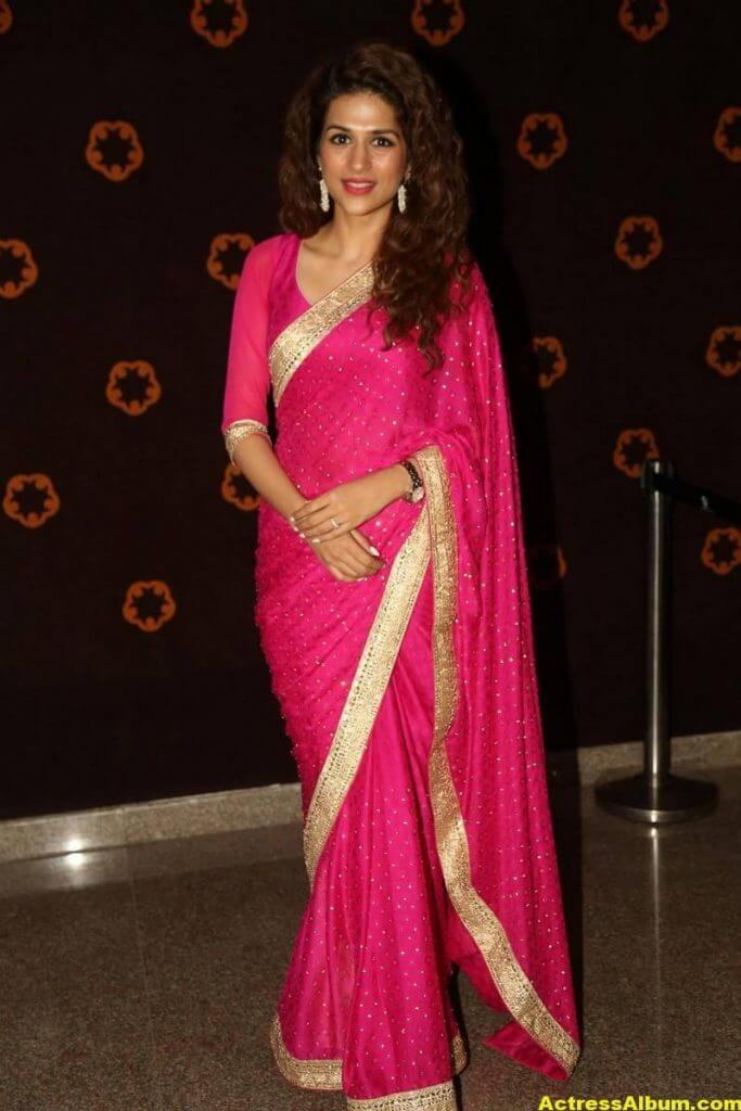 Shraddha Das Latest Hot Stills In Pink Saree (5)