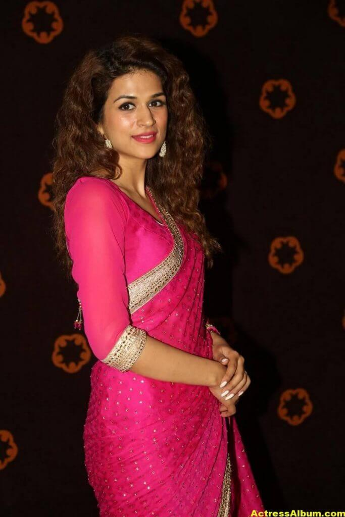 Shraddha Das Latest Hot Stills In Pink Saree (6)
