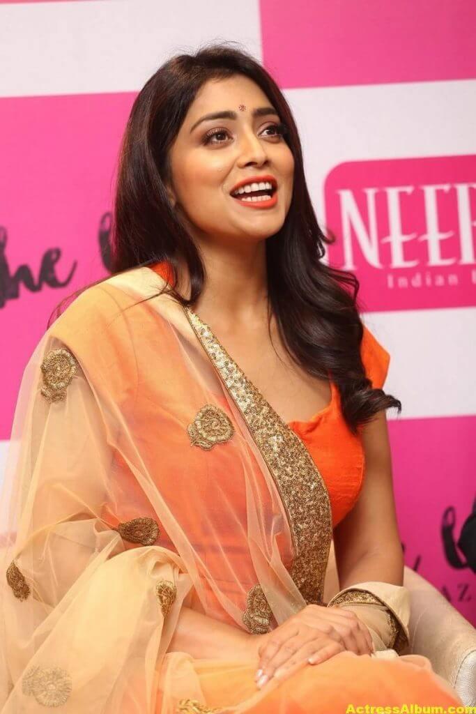 Shriya Saran Latest Photos In Orange Dress 5