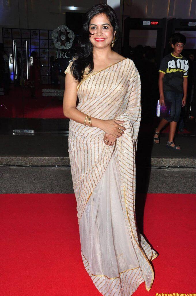 Singer Sunitha Latest Stills In White Saree 3