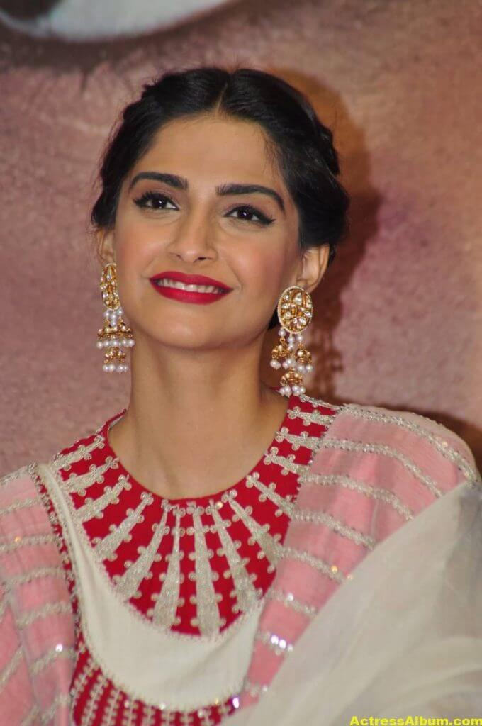 Sonam Kapoor Smiling Hot Stills In White Dress 1