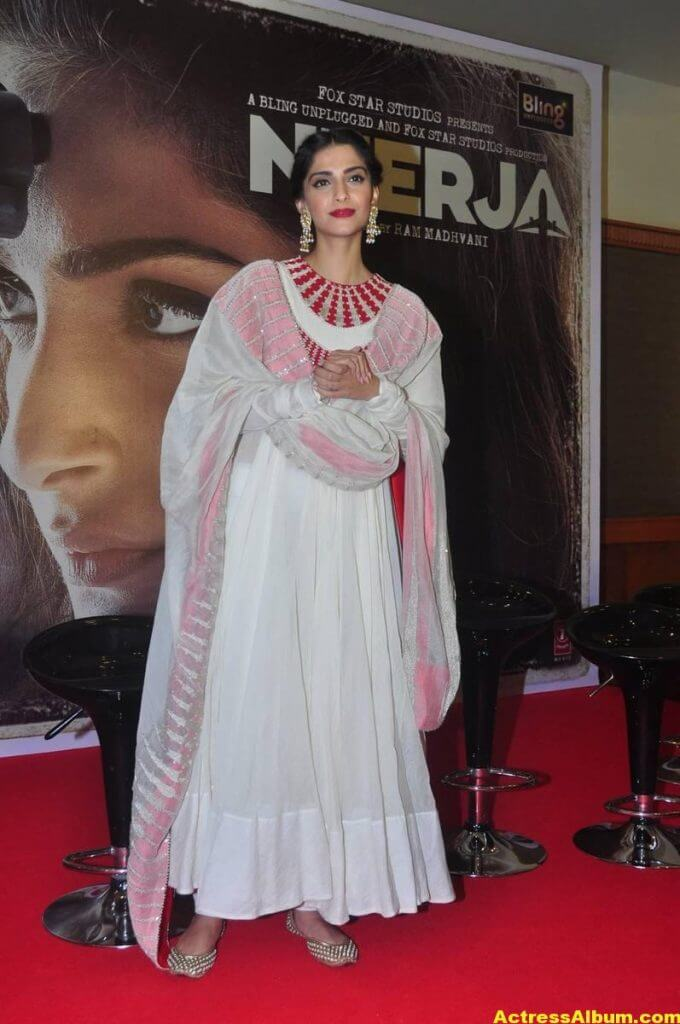 Sonam Kapoor Smiling Hot Stills In White Dress 2