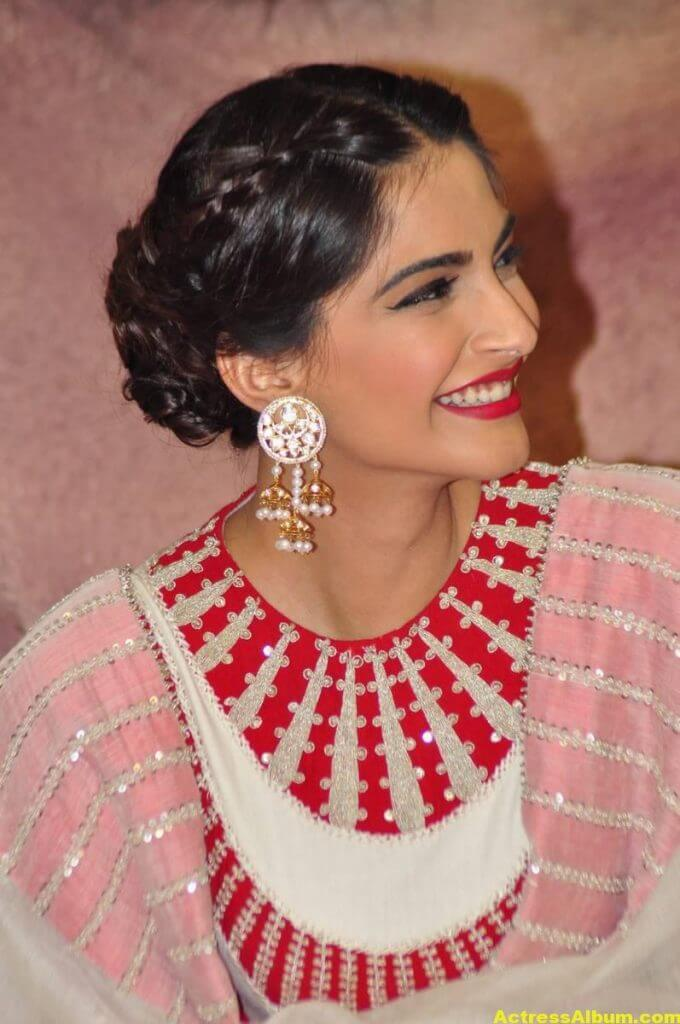 Sonam Kapoor Smiling Hot Stills In White Dress 5