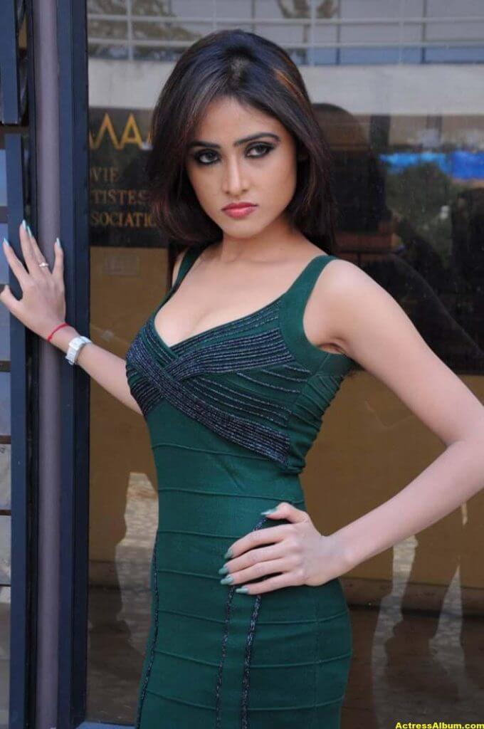 Sony Charista In Dark Green Dress Photos 4