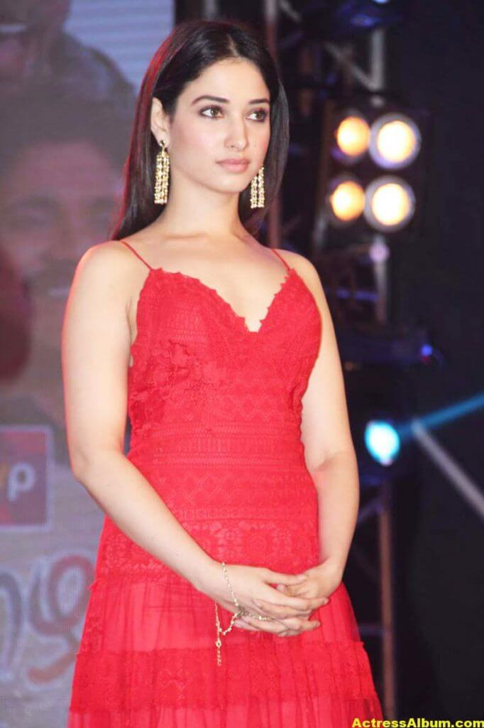 Tamanna Latest Stills at Audio Launch In Red Gown 5