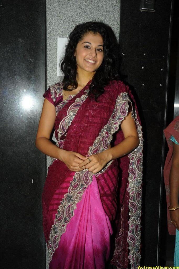 Tapsee Latest Stills In Pink Saree 0