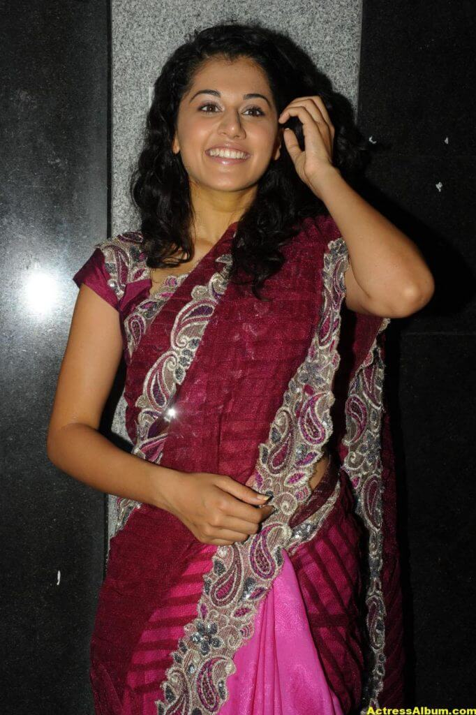 Tapsee Latest Stills In Pink Saree 1