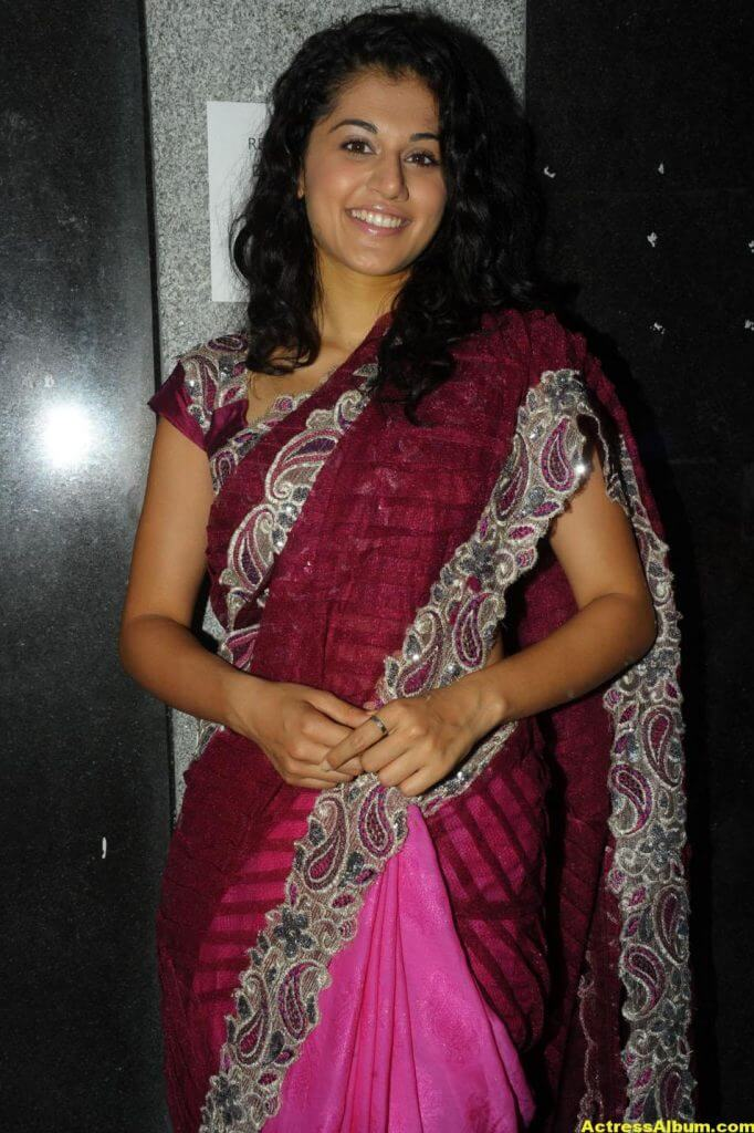 Tapsee Latest Stills In Pink Saree 2