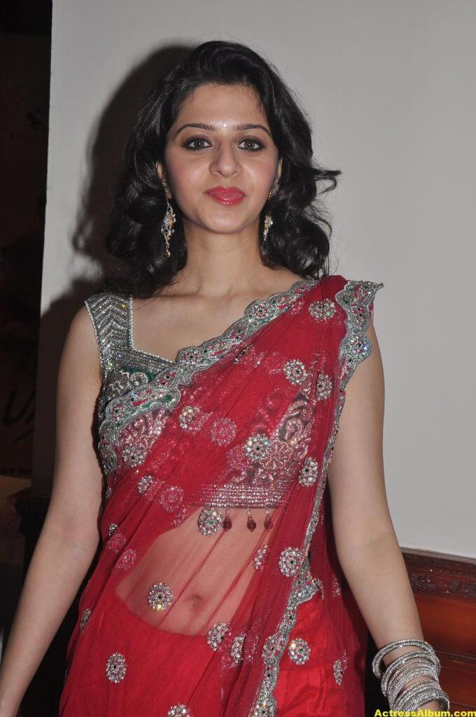 Vedika Hot Navel Show Stills In Red Saree-6736