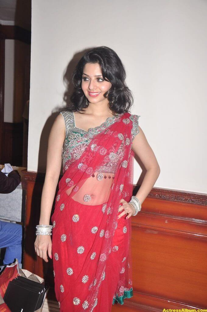 Vedika Hot Navel Show Stills in Red Saree 2
