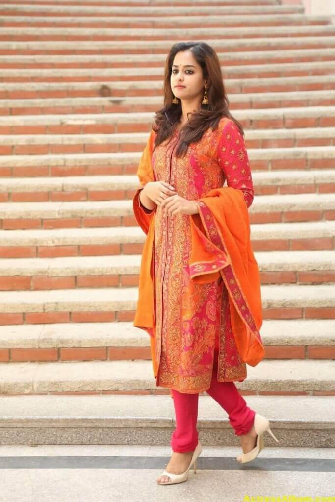 Nanditha Latest Photos In Orange Dress (3)