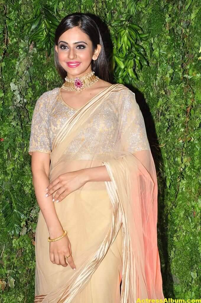 Rakul Preeth Photos In Yellow Saree At Wedding Reception (1)