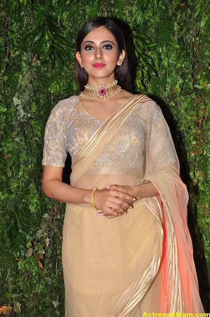 Rakul Preeth Photos In Yellow Saree At Wedding Reception (11)
