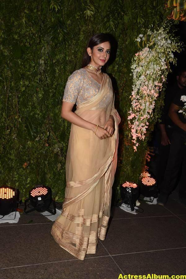 Rakul Preeth Photos In Yellow Saree At Wedding Reception (2)