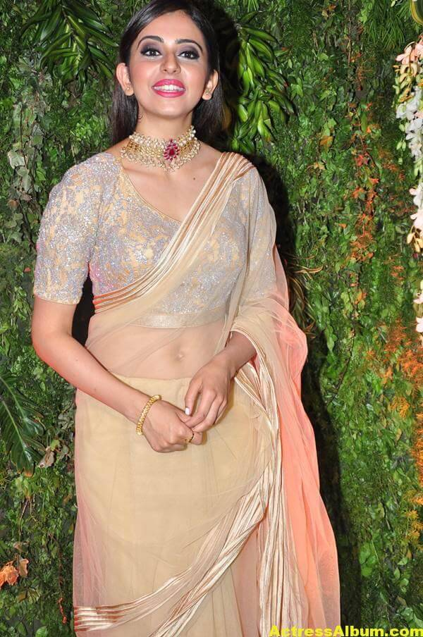 Rakul Preeth Photos In Yellow Saree At Wedding Reception (6)