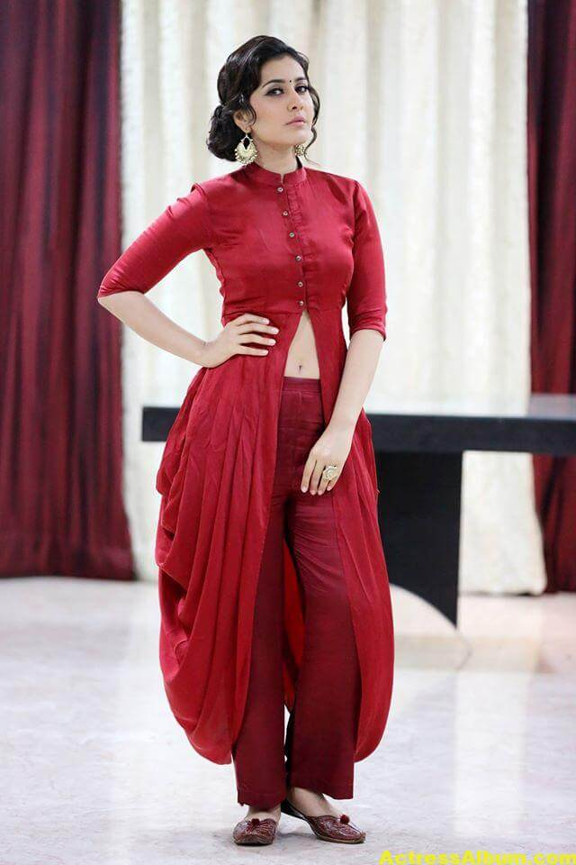 Rashi Khanna Navel Show Photos In Red Dress (4)