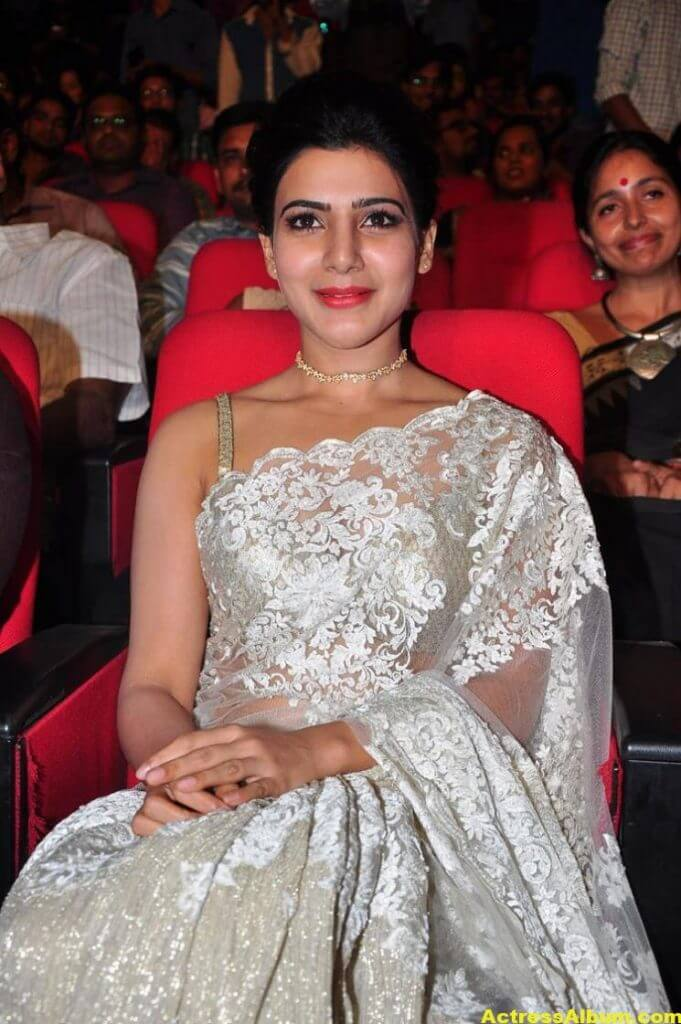Samantha In White Saree At 24 Movie Audio Launch 1