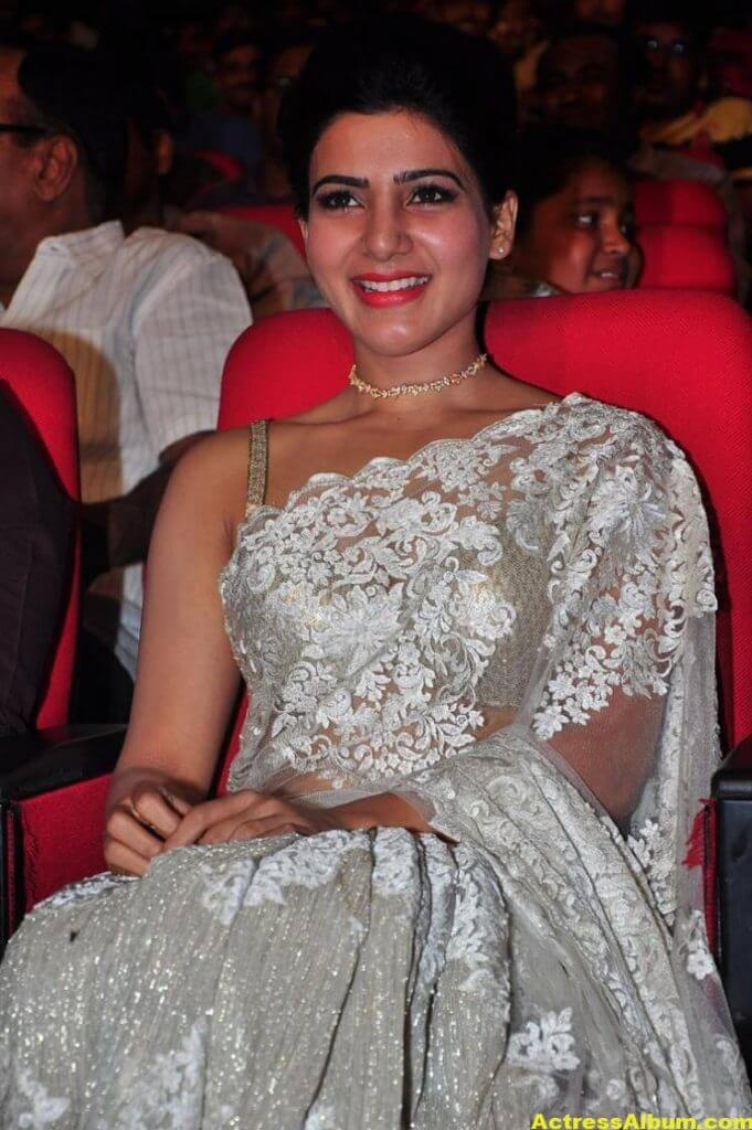 Samantha In White Saree At 24 Movie Audio Launch 2