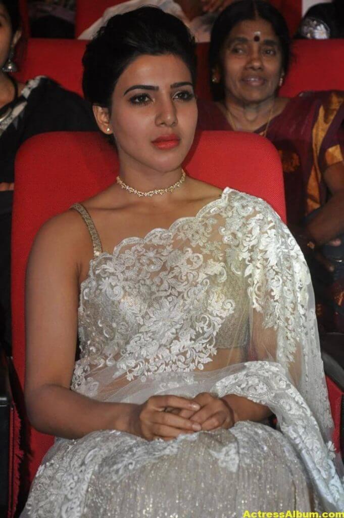 Samantha In White Saree At 24 Movie Audio Launch 3