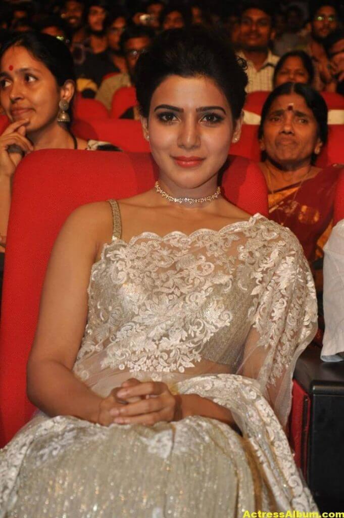 Samantha In White Saree At 24 Movie Audio Launch 4