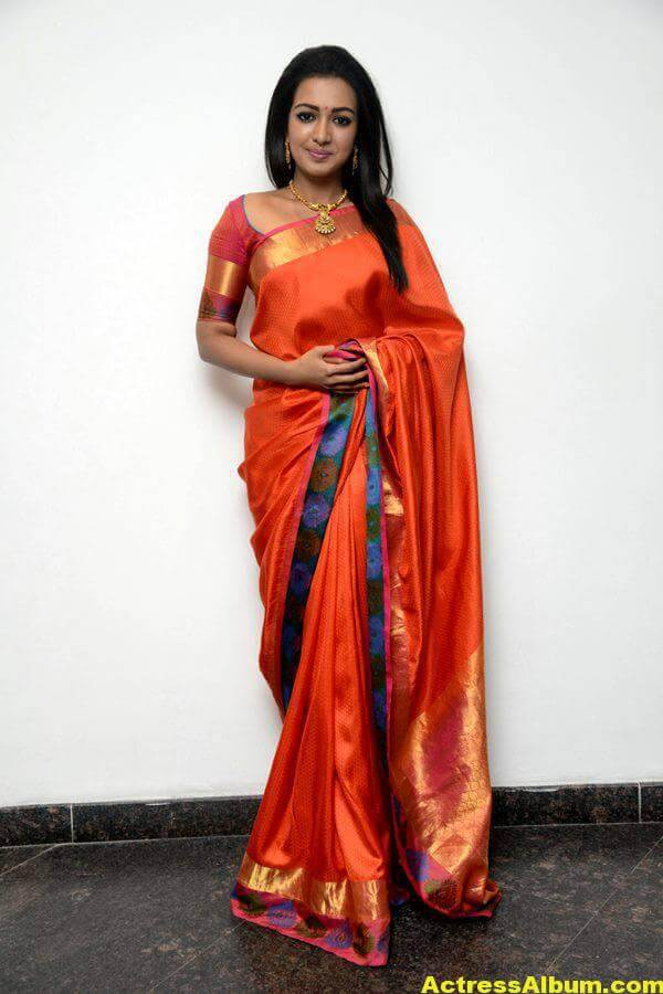 Catherine Tresa Latest Hot Photos In Orange Saree (3)