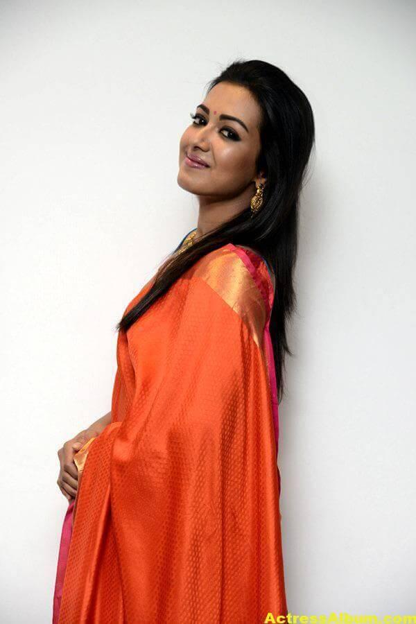 Catherine Tresa Latest Hot Photos In Orange Saree (4)