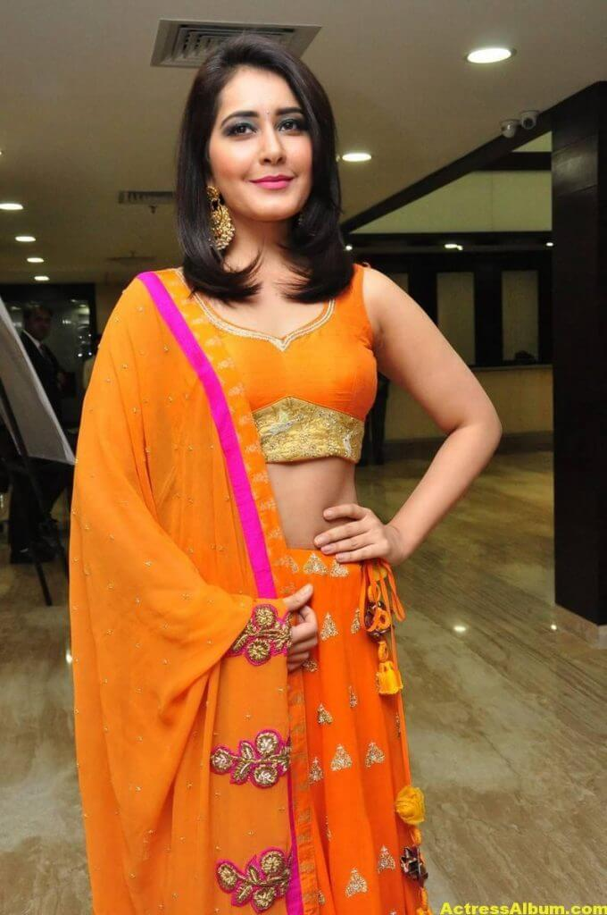 Rashi Khanna Latest Hot Stills In Orange Dress (3)