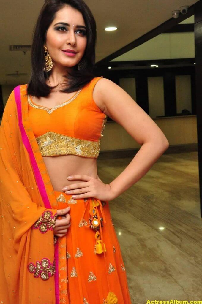 Rashi Khanna Latest Hot Stills In Orange Dress (4)