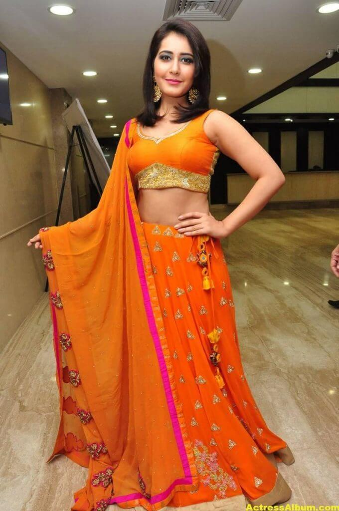 Rashi Khanna Latest Hot Stills In Orange Dress (7)