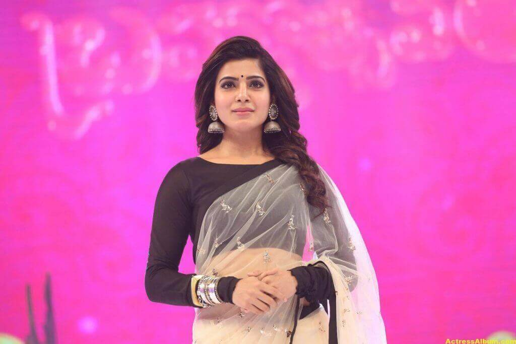 Samantha Navel Show Photos In Black Saree (1)