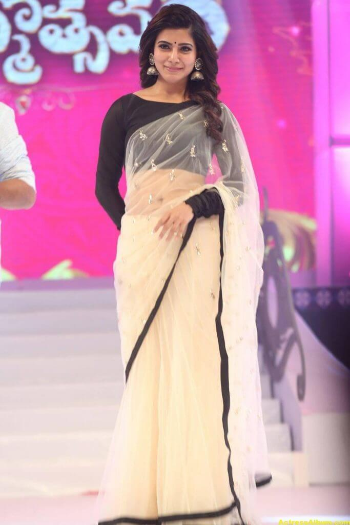 Samantha Navel Show Photos In Black Saree (2)