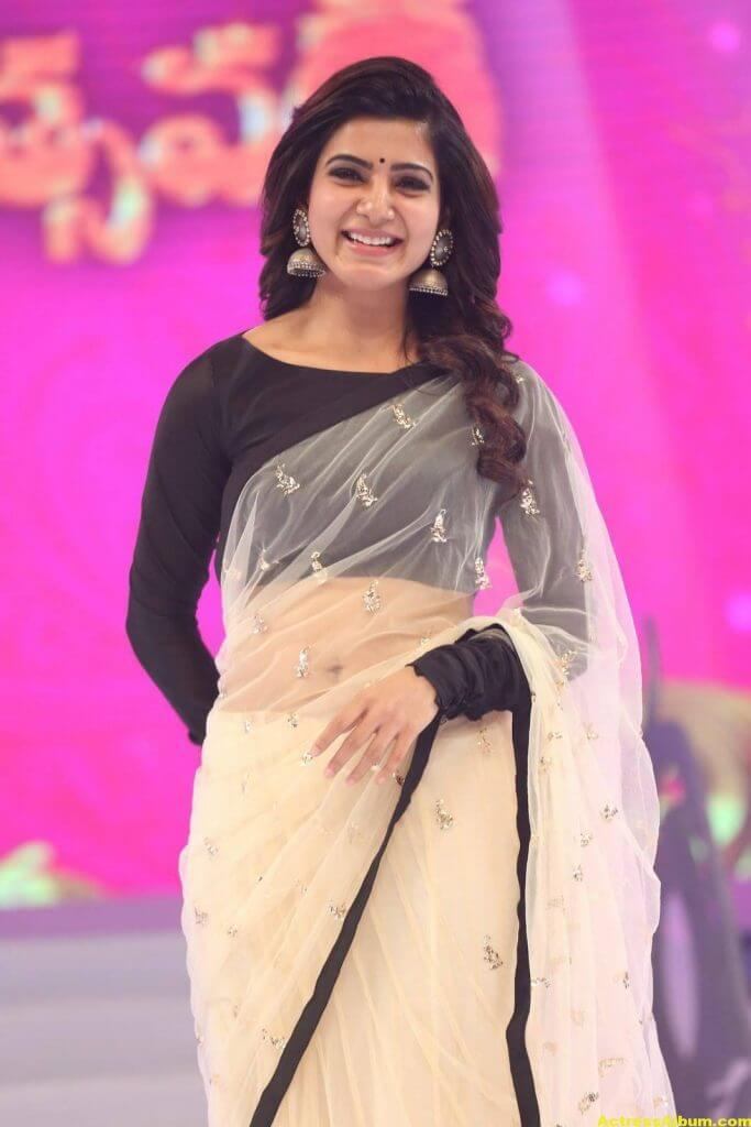 Samantha Navel Show Photos In Black Saree (3)