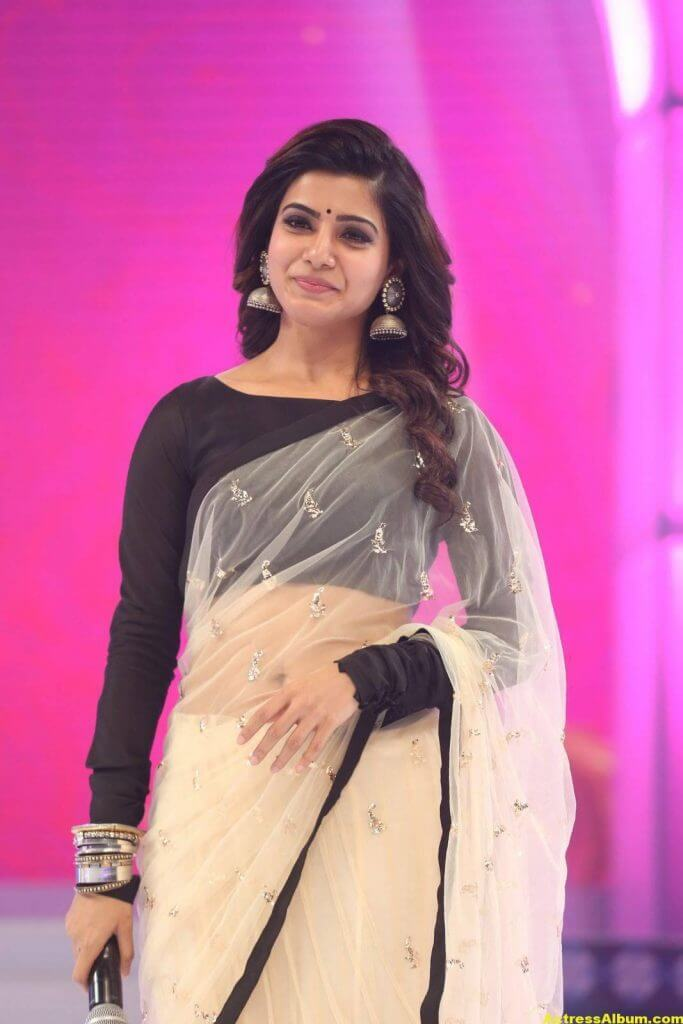 Samantha Navel Show Photos In Black Saree (4)