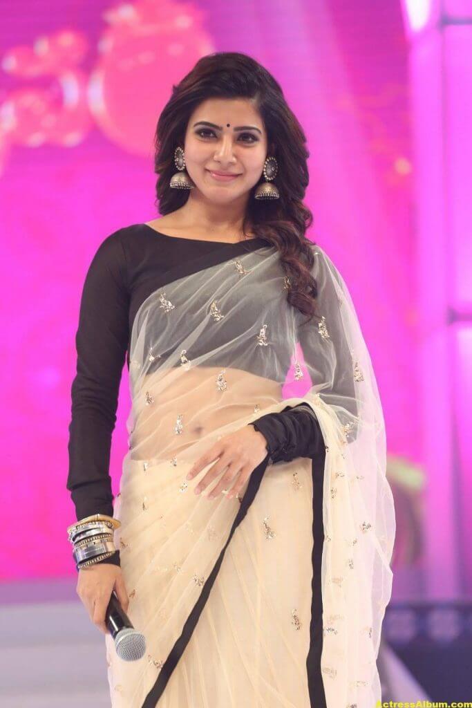 Samantha Navel Show Photos In Black Saree (5)
