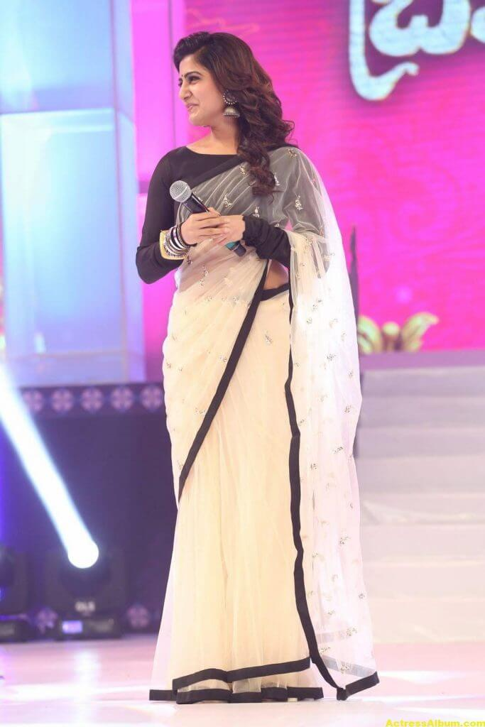 Samantha Navel Show Photos In Black Saree (7)
