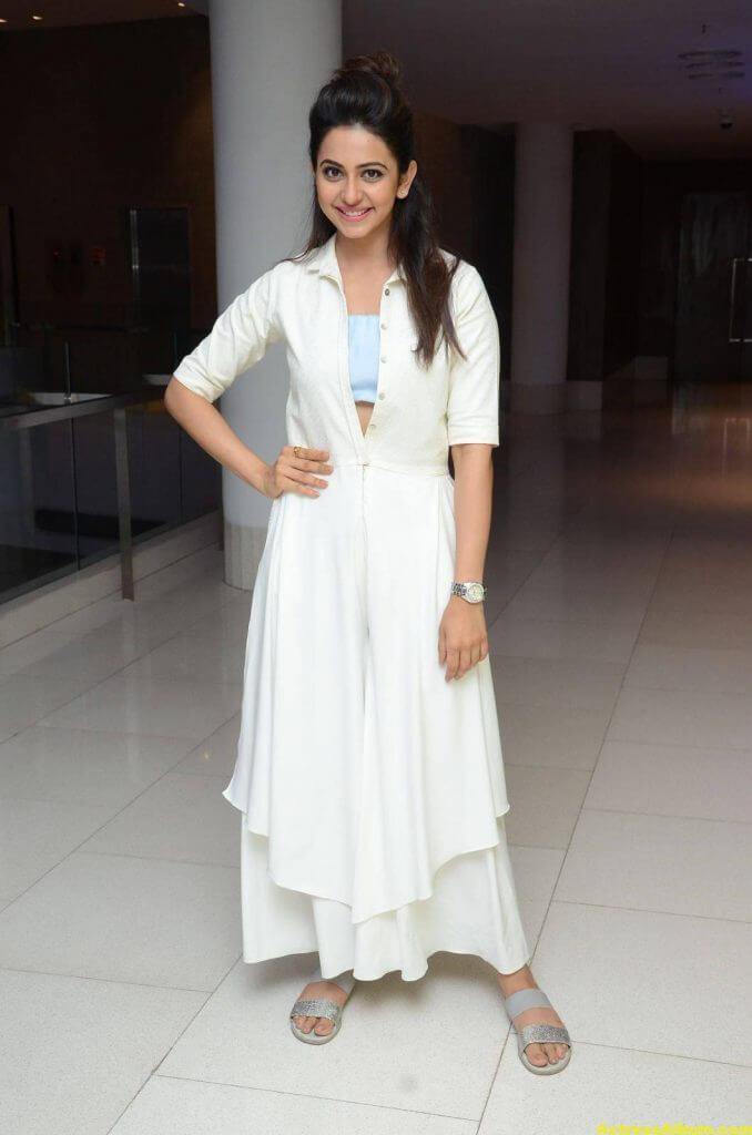 Tamil Actress Rakul Preet Hot Pics In White Dress 1