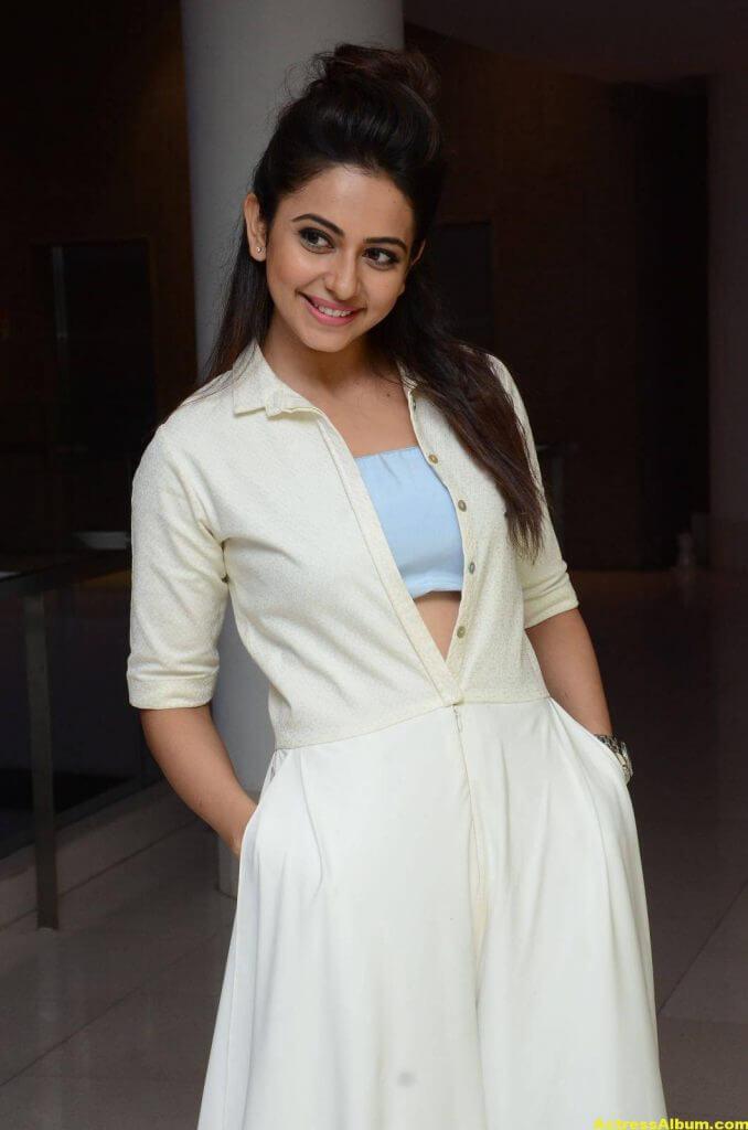 Tamil Actress Rakul Preet Hot Pics In White Dress 4